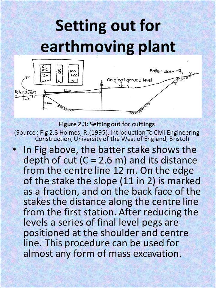 Setting out for earthmoving plant Figure 2.3: Setting out for cuttings (Source : Fig 2.3 Holmes, R.(1995), Introduction To Civil Engineering Construction, University of the West of England, Bristol) In Fig above, the batter stake shows the depth of cut (C = 2.6 m) and its distance from the centre line 12 m.