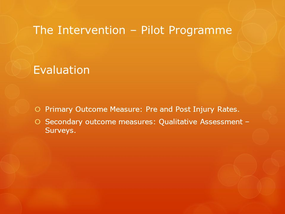 The Intervention – Pilot Programme Evaluation Primary Outcome Measure: Pre and Post Injury Rates.