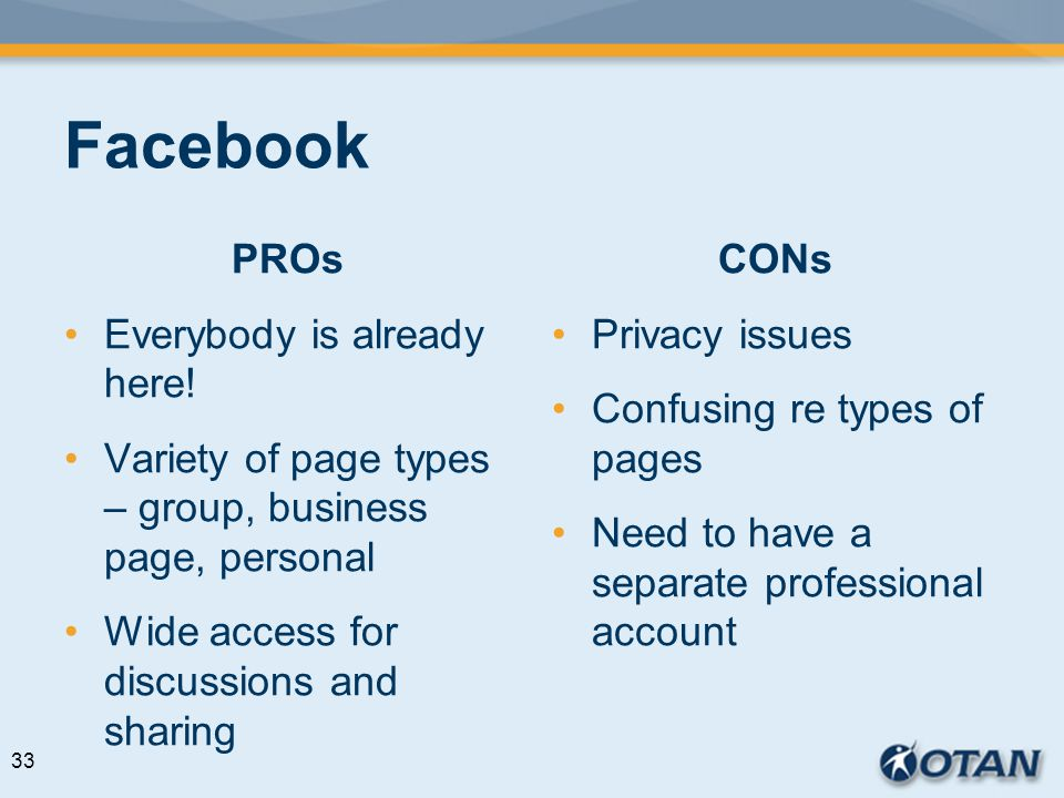 Facebook PROs Everybody is already here! Variety of page types – group, business page, personal Wide access for discussions and sharing CONs Privacy i
