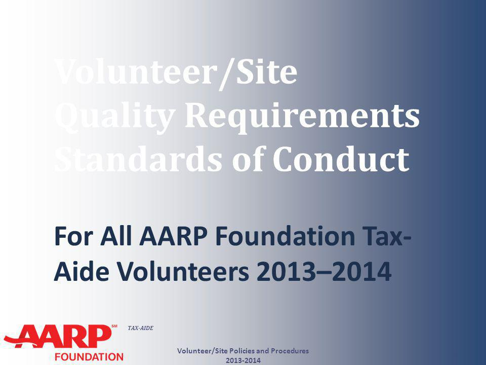 TAX-AIDE What You Need to Know QSR #8 Correct Site Identification Number Volunteer/Site Policies and Procedures 2013-2014 12 QSR #9 Correct Electronic Filing Identification Number