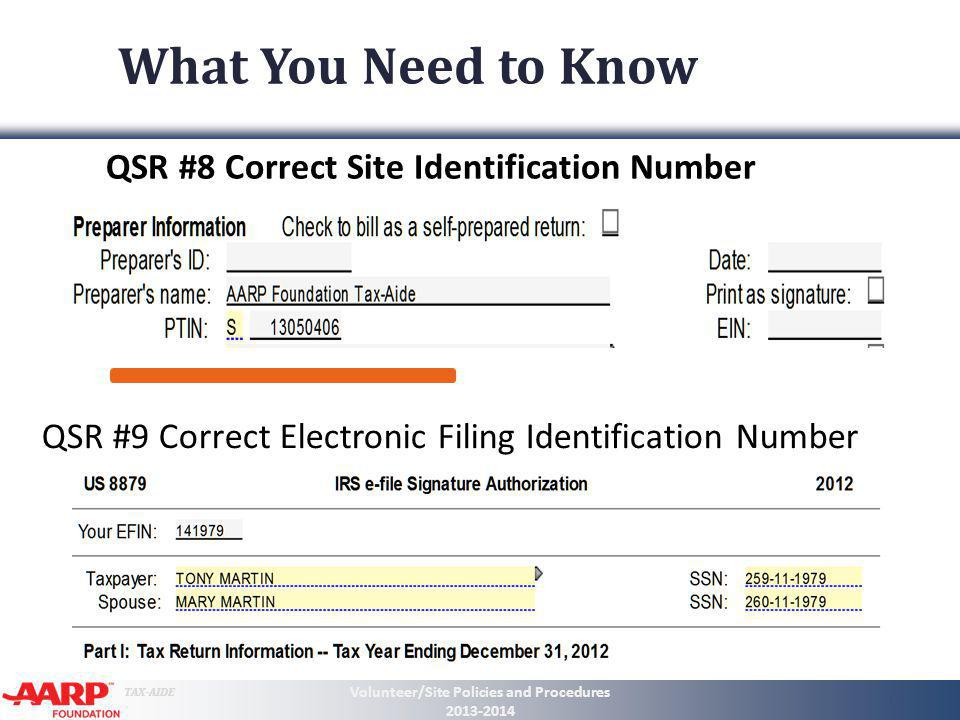 TAX-AIDE What You Need to Know QSR #8 Correct Site Identification Number Volunteer/Site Policies and Procedures 2013-2014 12 QSR #9 Correct Electronic