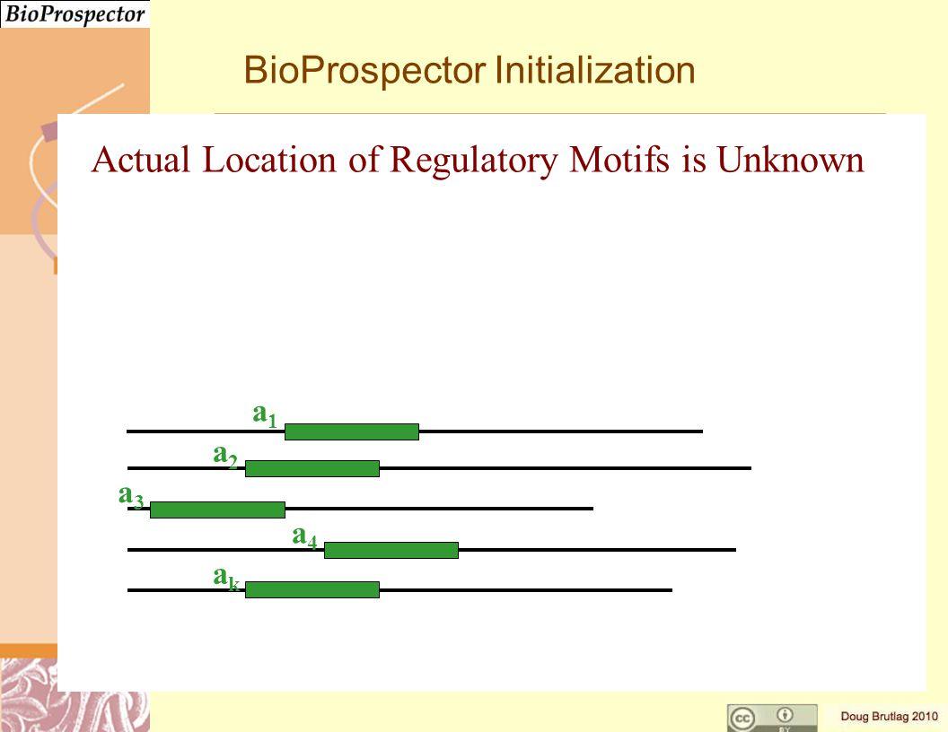 BioProspector Initialization a1a1 a2a2 a3a3 a4a4 akak Actual Location of Regulatory Motifs is Unknown