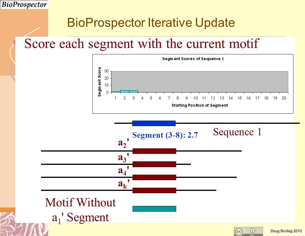 a3 a3 a4 a4 ak ak a2 a2 Motif Without a 1 Segment Segment (3-8): 2.7 Sequence 1 BioProspector Iterative Update Score each segment with the current motif
