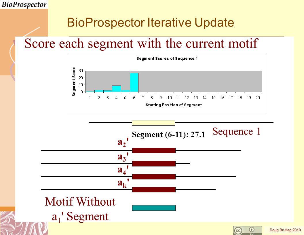 a3 a3 a4 a4 ak ak a2 a2 Motif Without a 1 Segment Segment (6-11): 27.1 Sequence 1 BioProspector Iterative Update Score each segment with the current motif