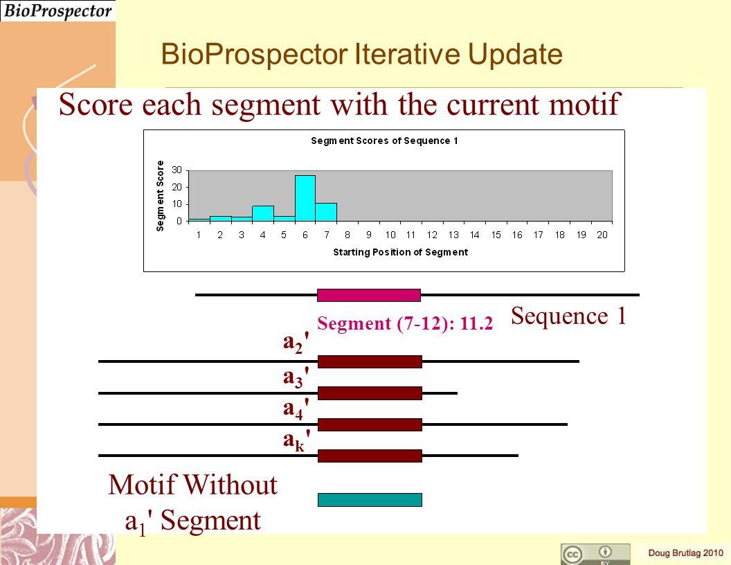 a3 a3 a4 a4 ak ak a2 a2 Motif Without a 1 Segment Segment (7-12): 11.2 Sequence 1 BioProspector Iterative Update Score each segment with the current motif