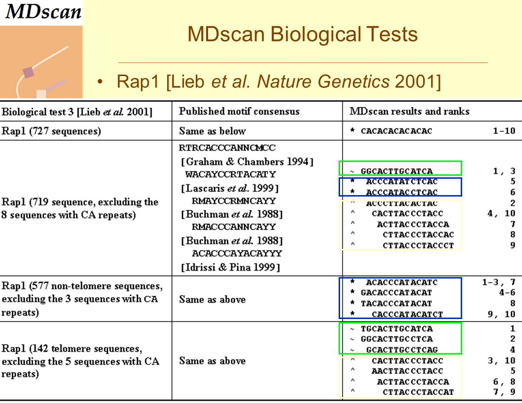 MDscan Biological Tests Rap1 [Lieb et al.