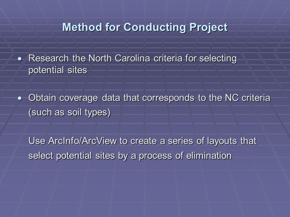 Method for Conducting Project Research the North Carolina criteria for selecting potential sites Research the North Carolina criteria for selecting po