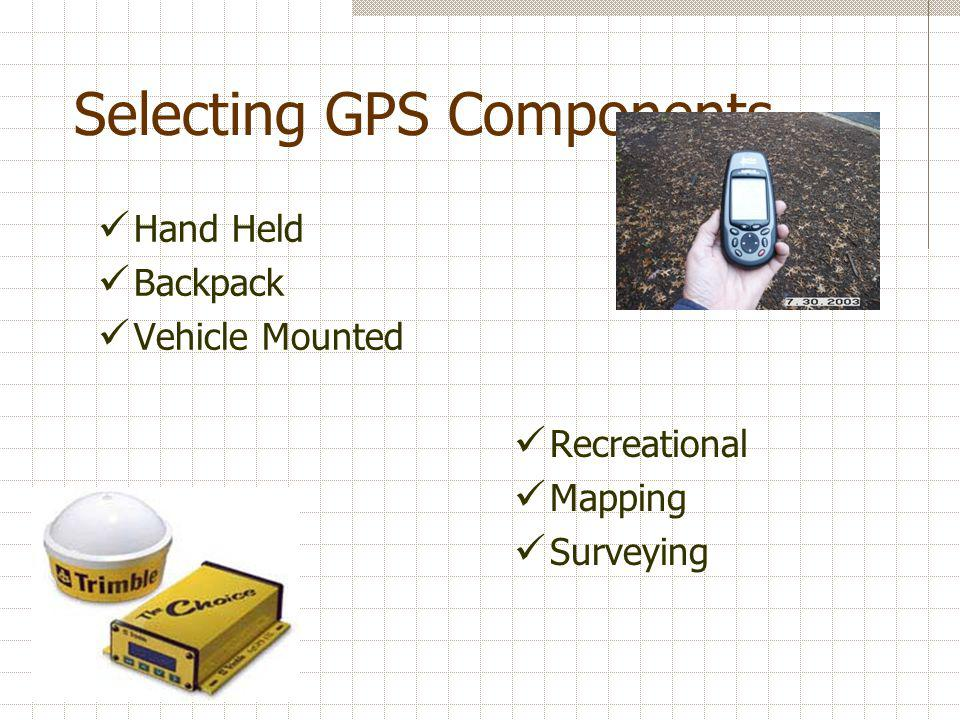 GPS/GIS Applications Guidance Point Guidance Swath Guidance Control Variable rate application Variable depth tillage Variable irrigation Mapping Soil properties Chemical Application Chemical Prescriptions Tillage Maps Yield Mapping Pest Mapping Topographic Maps Planting Maps