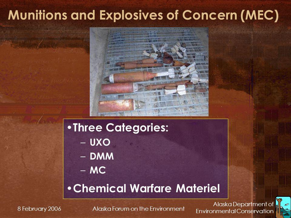 Alaska Department of Environmental Conservation 8 February 2006Alaska Forum on the Environment Munitions and Explosives of Concern (MEC) Three Categor
