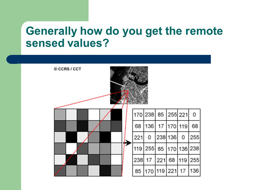 Generally how do you get the remote sensed values?