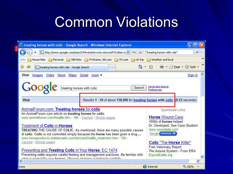 Common Violations Bad search (too literal)