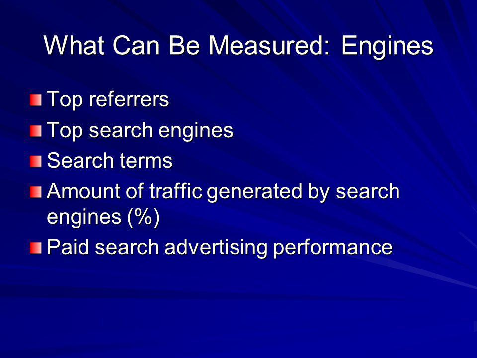 What Can Be Measured: Engines Top referrers Top search engines Search terms Amount of traffic generated by search engines (%) Paid search advertising performance
