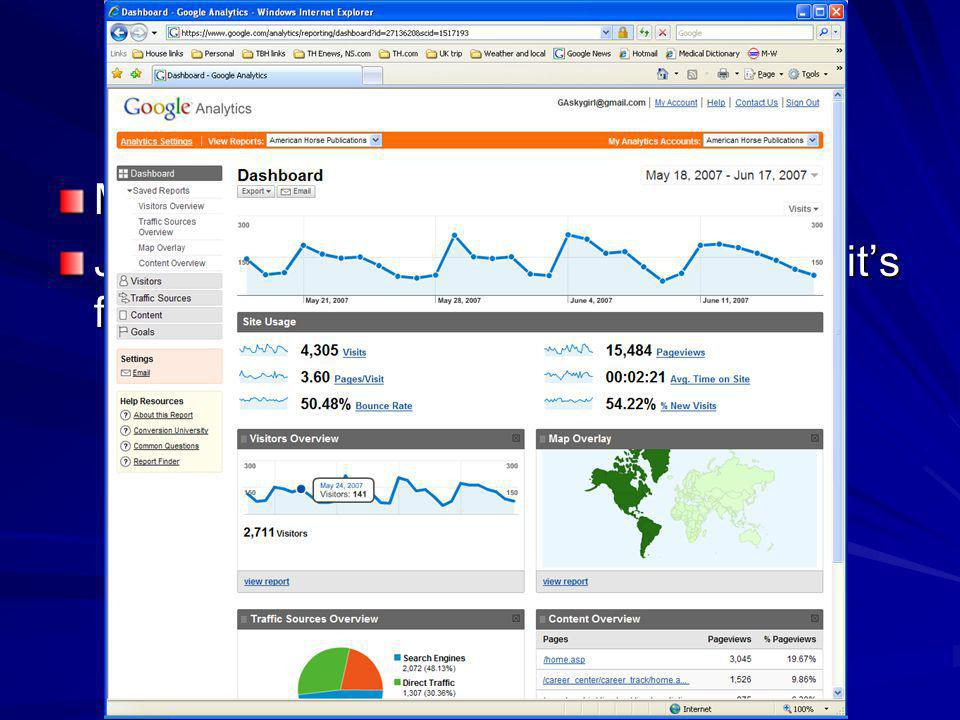 How to Measure It Many, many choices Just starting out Try Google Analytics, its free…