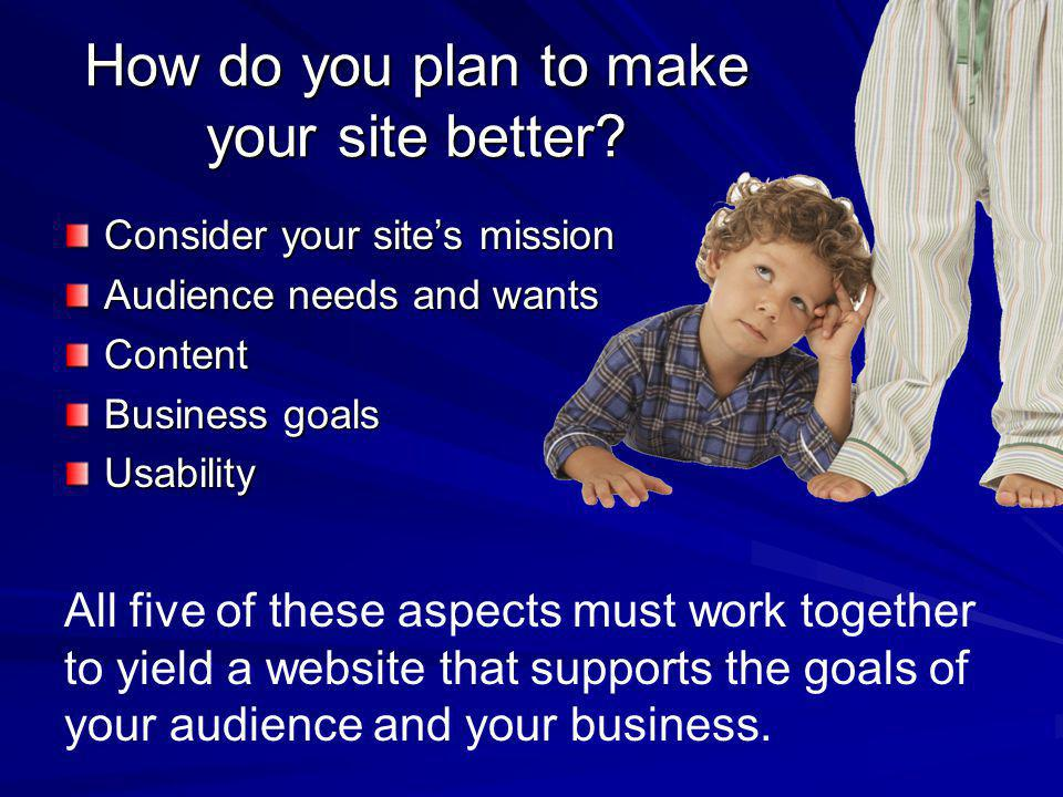 How do you plan to make your site better.