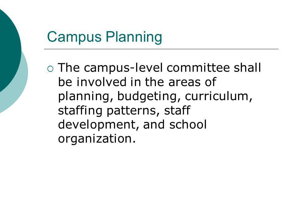 Campus Planning The campus-level committee shall be involved in the areas of planning, budgeting, curriculum, staffing patterns, staff development, and school organization.