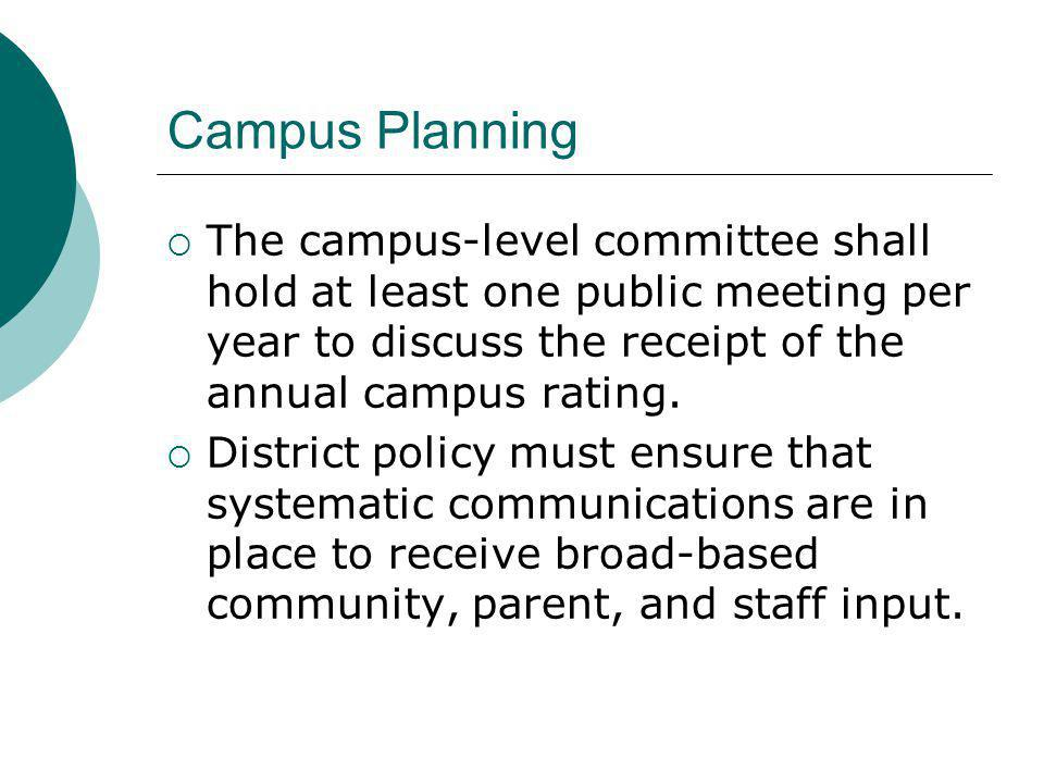 Campus Planning The campus-level committee shall hold at least one public meeting per year to discuss the receipt of the annual campus rating.