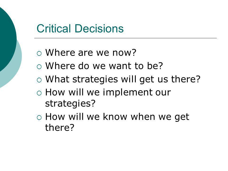 Critical Decisions Where are we now. Where do we want to be.