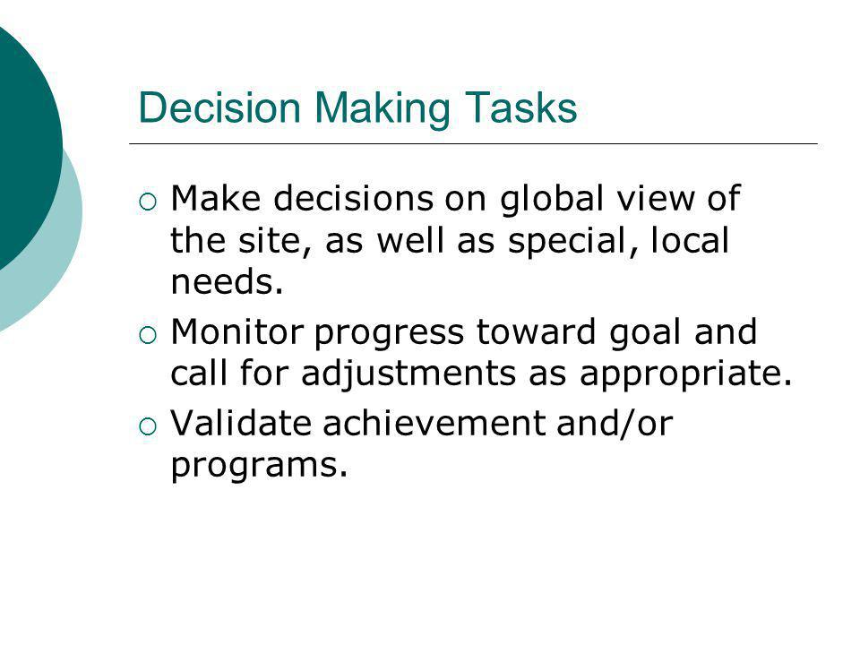 Decision Making Tasks Make decisions on global view of the site, as well as special, local needs.