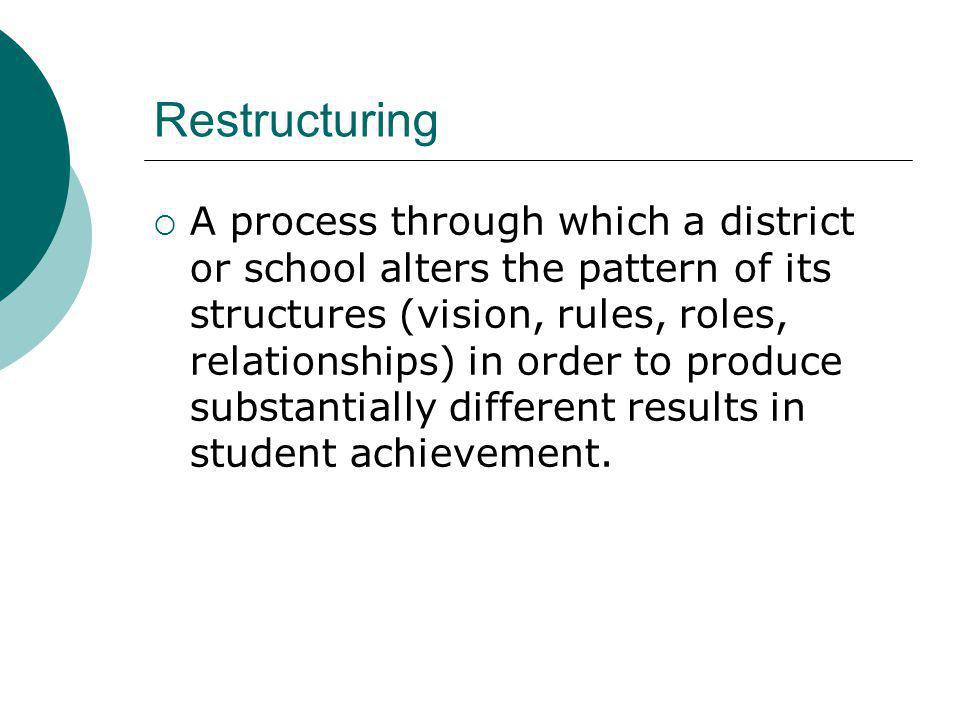 Restructuring A process through which a district or school alters the pattern of its structures (vision, rules, roles, relationships) in order to produce substantially different results in student achievement.