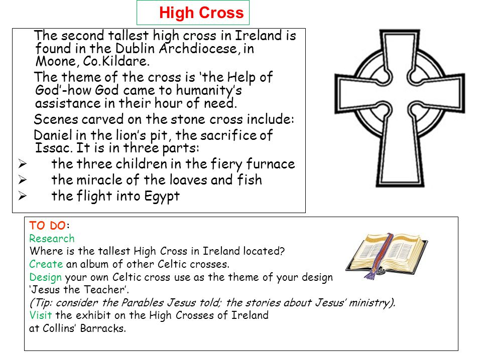 The second tallest high cross in Ireland is found in the Dublin Archdiocese, in Moone, Co.Kildare. The theme of the cross is the Help of God-how God c