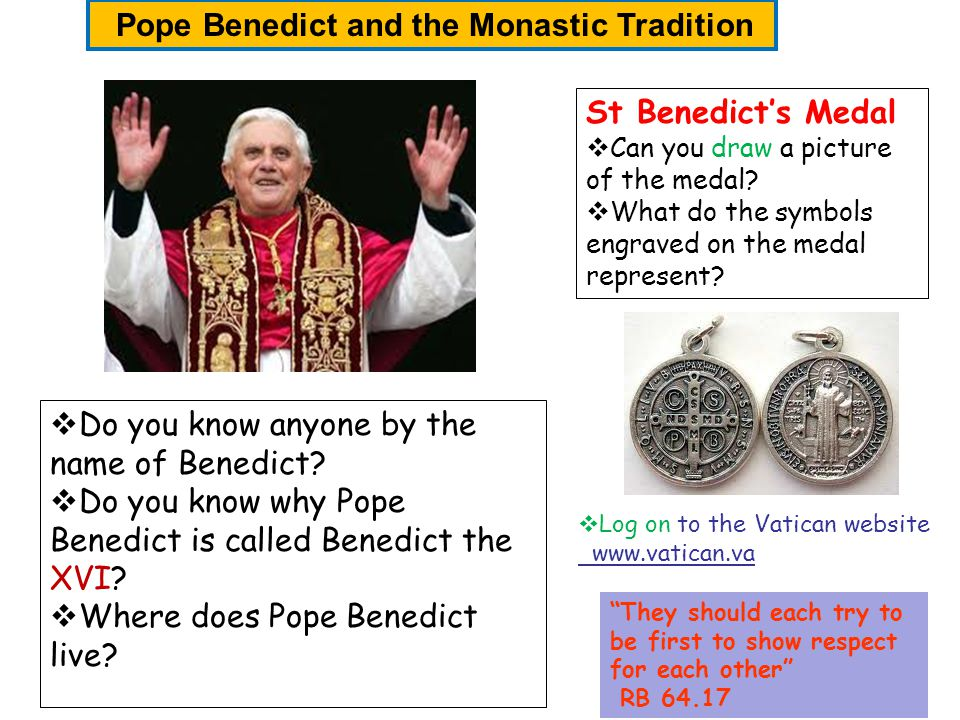 St Benedicts Medal Can you draw a picture of the medal? What do the symbols engraved on the medal represent? Do you know anyone by the name of Benedic