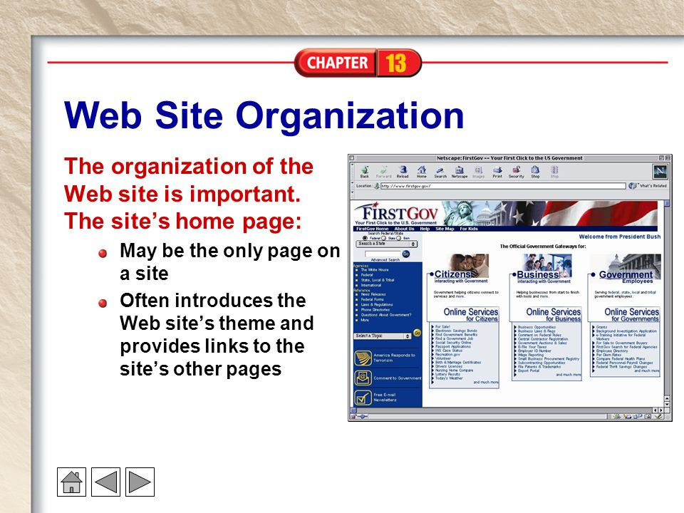 13 Web Site Organization The organization of the Web site is important.