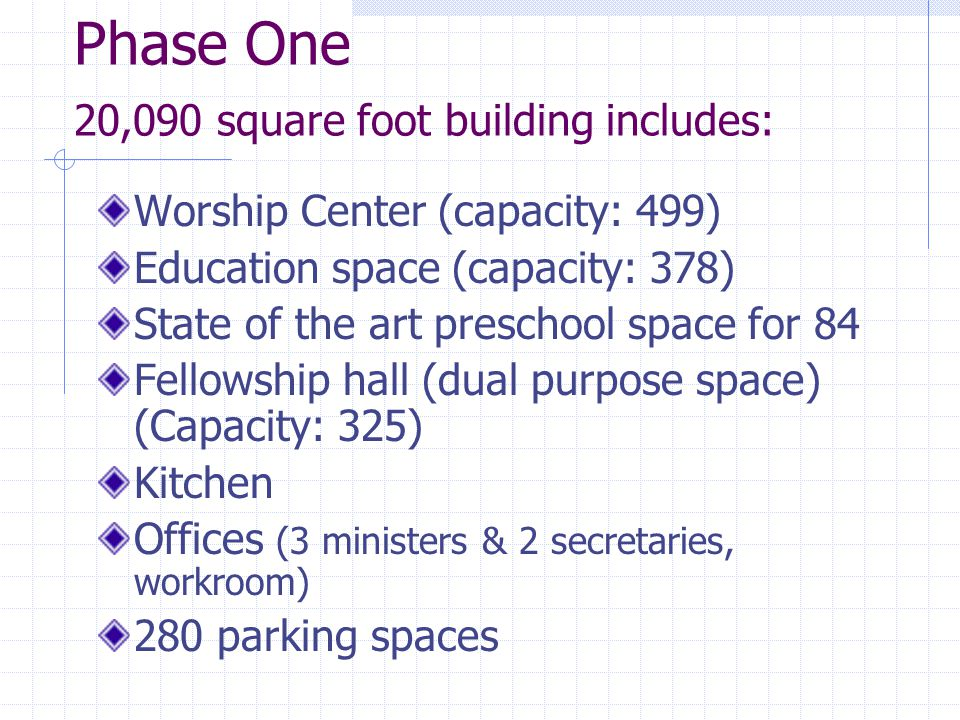 Phase One 20,090 square foot building includes: Worship Center (capacity: 499) Education space (capacity: 378) State of the art preschool space for 84