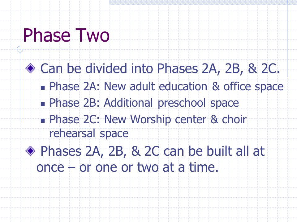 Phase Two Can be divided into Phases 2A, 2B, & 2C. Phase 2A: New adult education & office space Phase 2B: Additional preschool space Phase 2C: New Wor