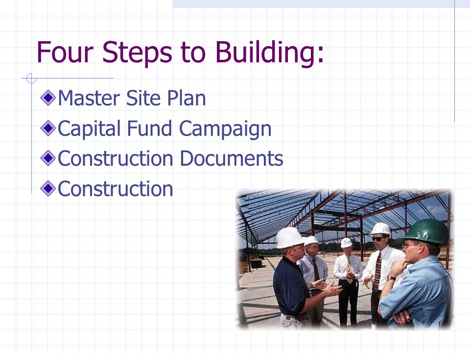 Four Steps to Building: Master Site Plan Capital Fund Campaign Construction Documents Construction