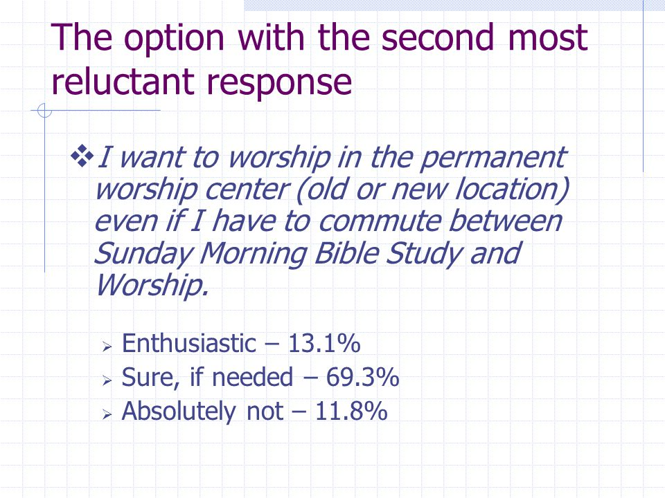 The option with the second most reluctant response I want to worship in the permanent worship center (old or new location) even if I have to commute between Sunday Morning Bible Study and Worship.