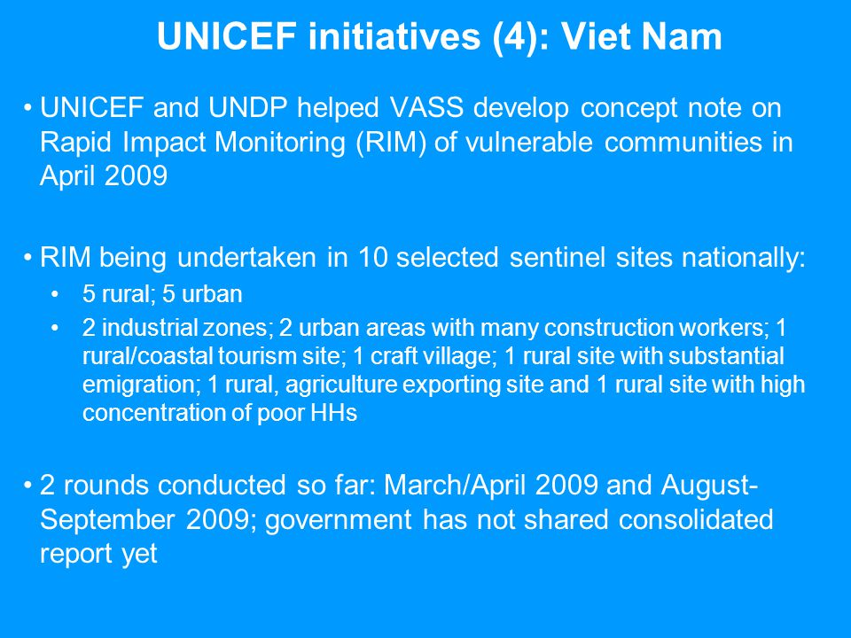 UNICEF initiatives (4): Viet Nam UNICEF and UNDP helped VASS develop concept note on Rapid Impact Monitoring (RIM) of vulnerable communities in April
