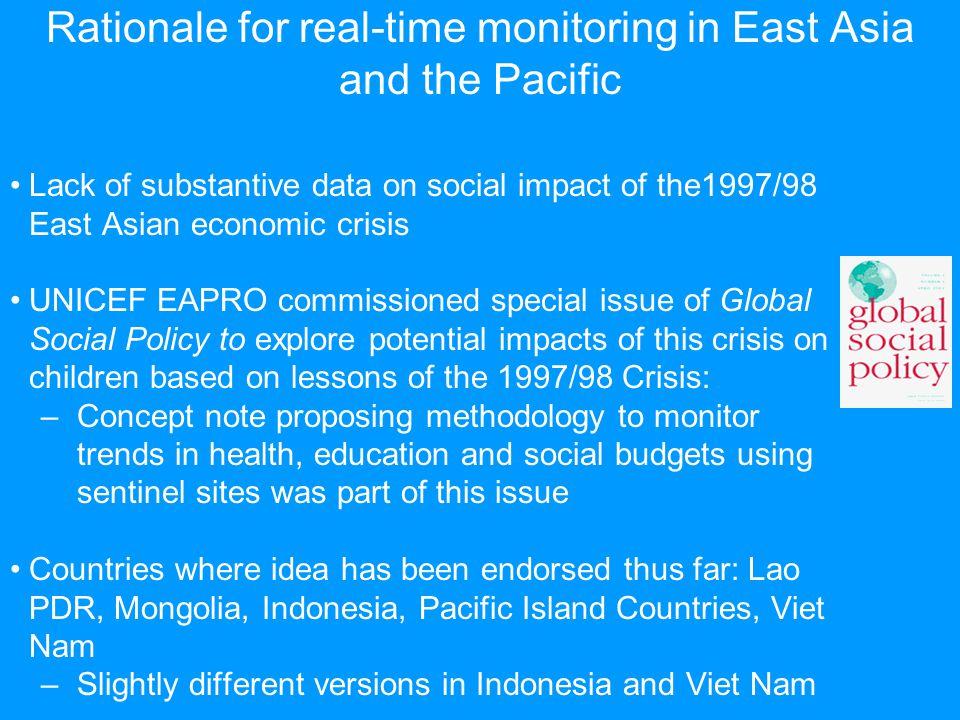 UNICEF EAPRO methodology – Key Ideas Education: Possible indicators: attendance; teacher attendance; school budget receipts, including parental contributions.