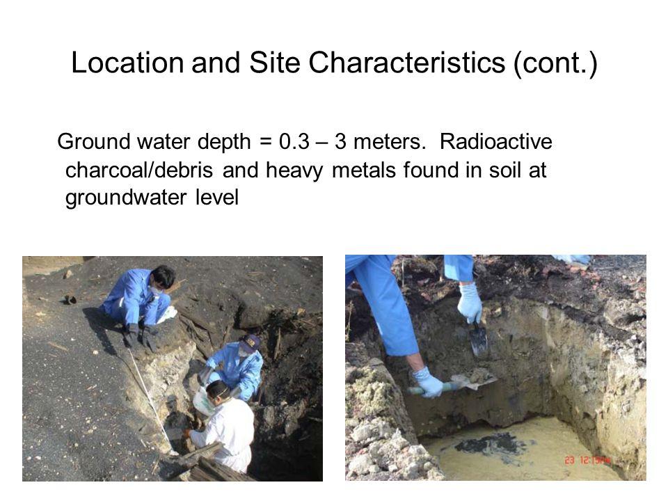 Ground water depth = 0.3 – 3 meters.