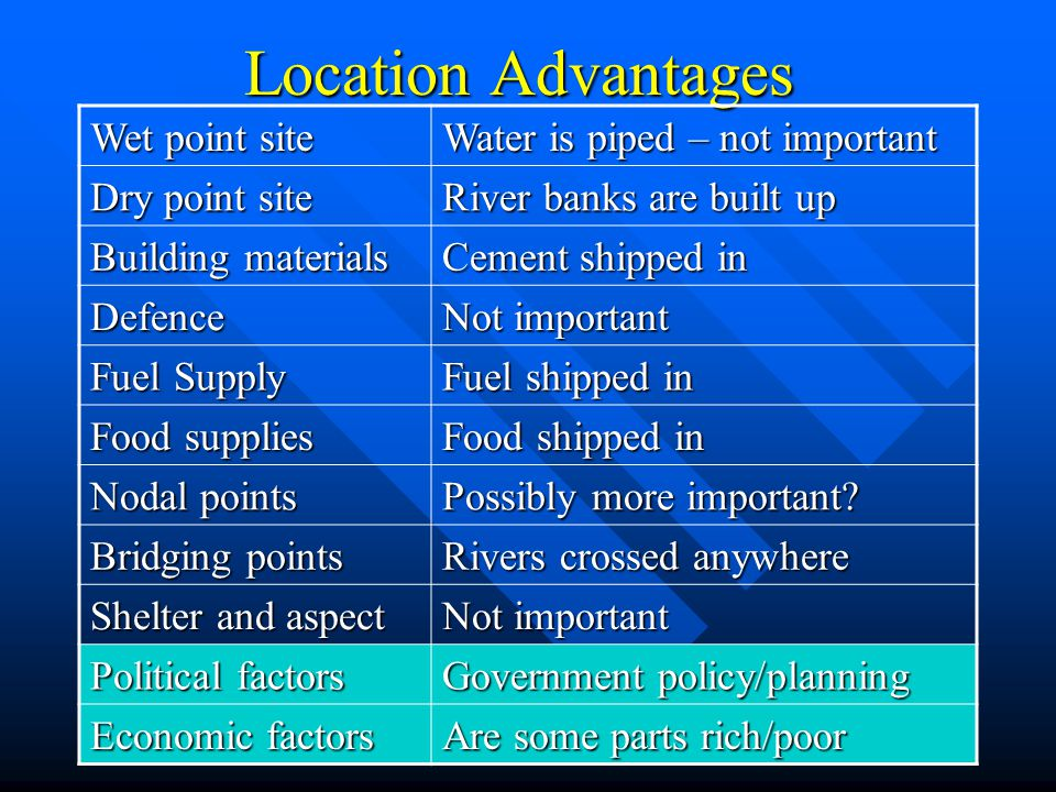 Location Advantages Wet point site Water is piped – not important Dry point site River banks are built up Building materials Cement shipped in Defence