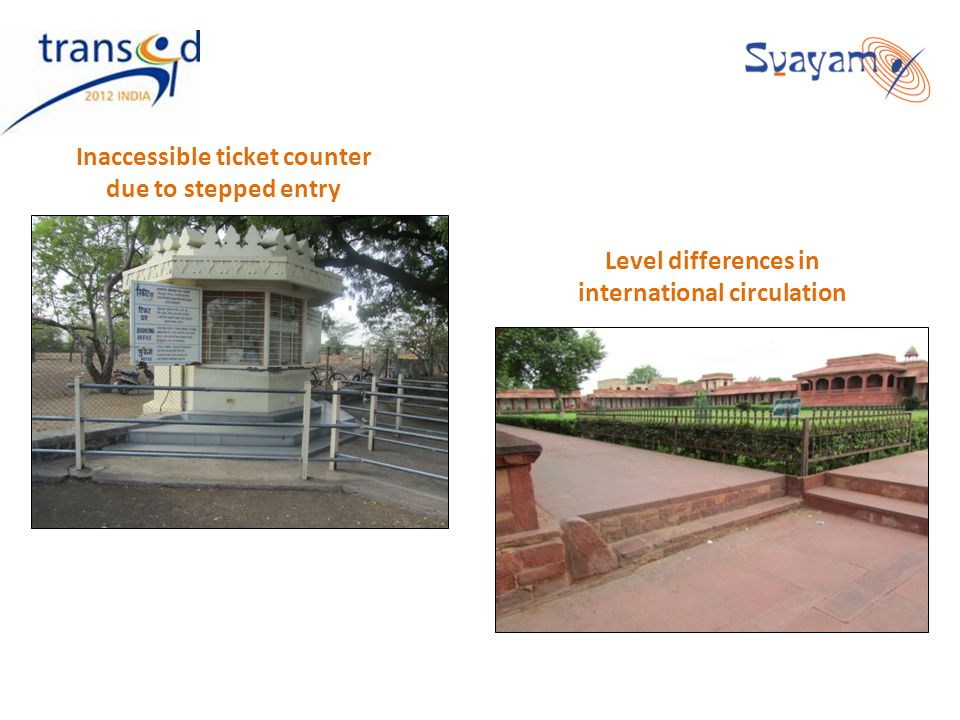 Inaccessible ticket counter due to stepped entry Level differences in international circulation