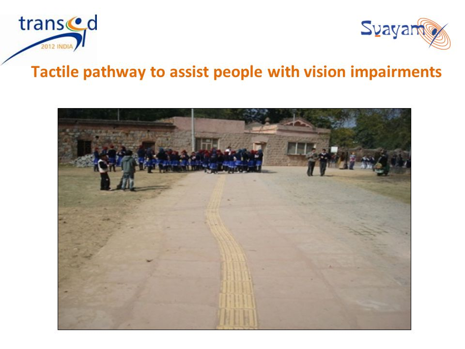 Tactile pathway to assist people with vision impairments