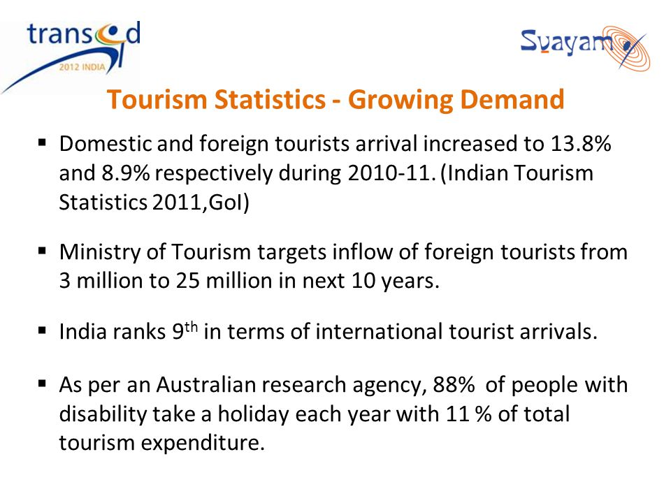 Tourism Statistics - Growing Demand Domestic and foreign tourists arrival increased to 13.8% and 8.9% respectively during 2010-11. (Indian Tourism Sta