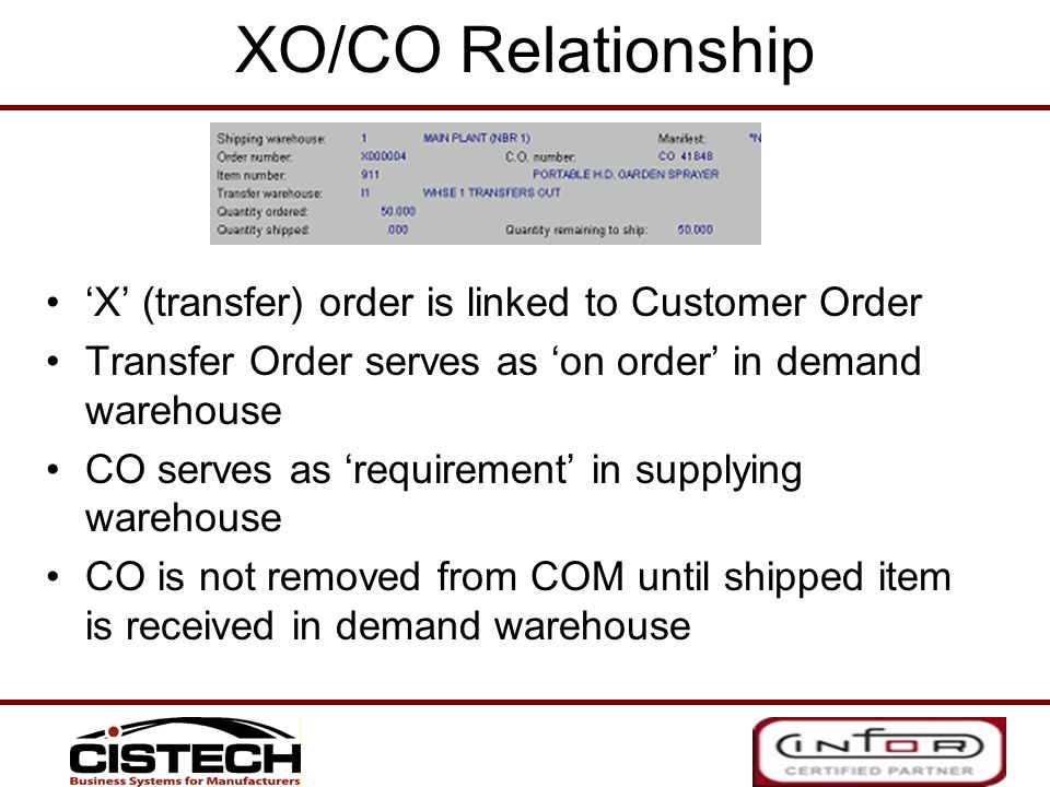 XO/CO Relationship X (transfer) order is linked to Customer Order Transfer Order serves as on order in demand warehouse CO serves as requirement in su