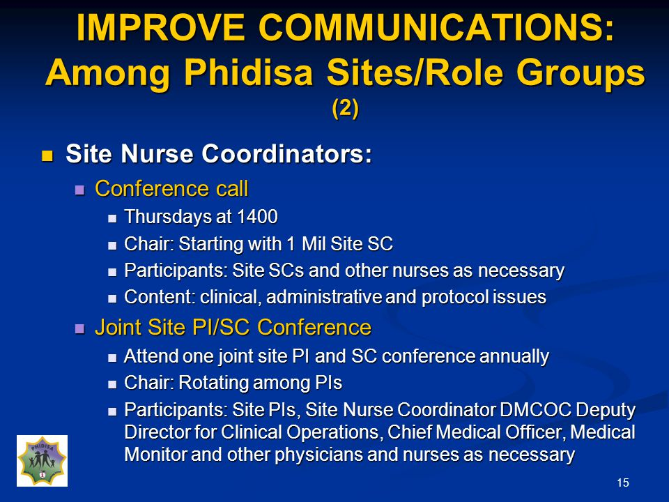 15 IMPROVE COMMUNICATIONS: Among Phidisa Sites/Role Groups (2) Site Nurse Coordinators: Site Nurse Coordinators: Conference call Conference call Thursdays at 1400 Thursdays at 1400 Chair: Starting with 1 Mil Site SC Chair: Starting with 1 Mil Site SC Participants: Site SCs and other nurses as necessary Participants: Site SCs and other nurses as necessary Content: clinical, administrative and protocol issues Content: clinical, administrative and protocol issues Joint Site PI/SC Conference Joint Site PI/SC Conference Attend one joint site PI and SC conference annually Attend one joint site PI and SC conference annually Chair: Rotating among PIs Chair: Rotating among PIs Participants: Site PIs, Site Nurse Coordinator DMCOC Deputy Director for Clinical Operations, Chief Medical Officer, Medical Monitor and other physicians and nurses as necessary Participants: Site PIs, Site Nurse Coordinator DMCOC Deputy Director for Clinical Operations, Chief Medical Officer, Medical Monitor and other physicians and nurses as necessary