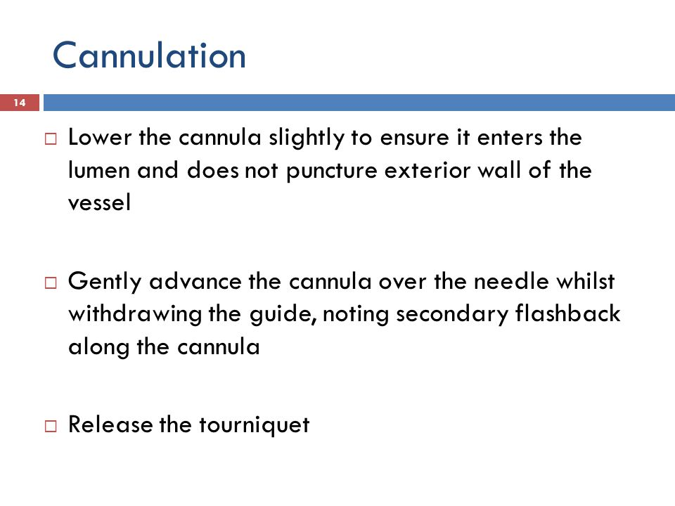 Cannulation Apply gentle pressure over the vein (beyond the cannula tip) remove the white cap from the needle 15