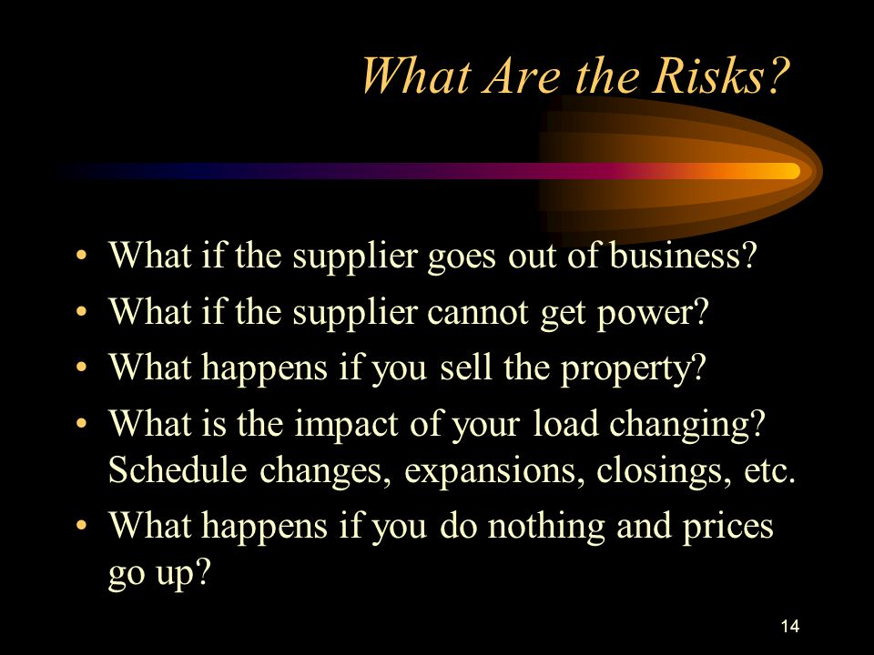 14 What Are the Risks. What if the supplier goes out of business.