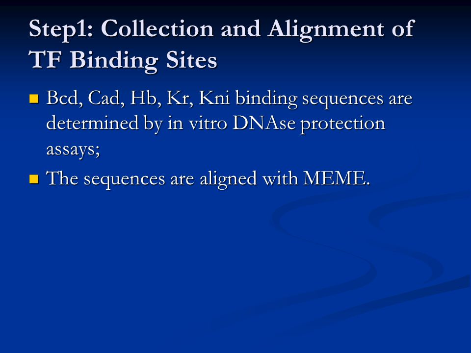 Step1: Collection and Alignment of TF Binding Sites Bcd, Cad, Hb, Kr, Kni binding sequences are determined by in vitro DNAse protection assays; Bcd, C