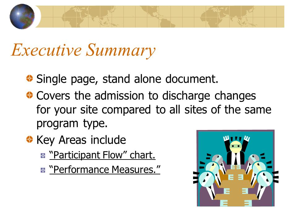 Executive Summary Single page, stand alone document.