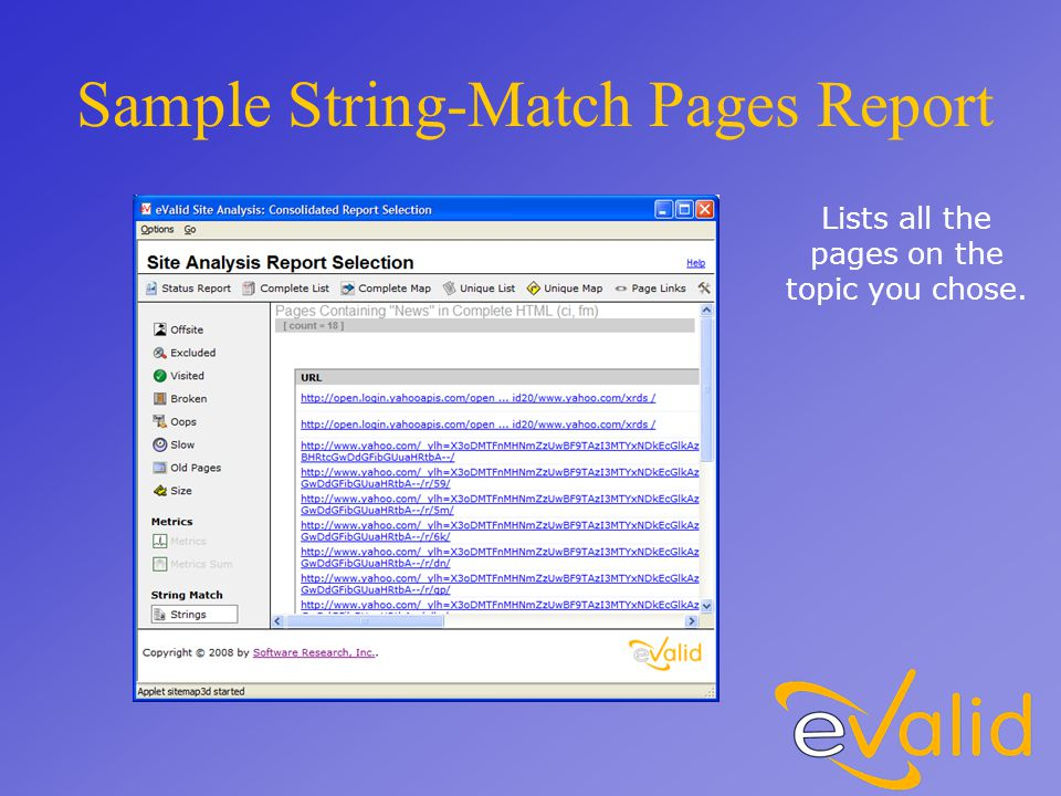 Sample String-Match Pages Report Lists all the pages on the topic you chose.