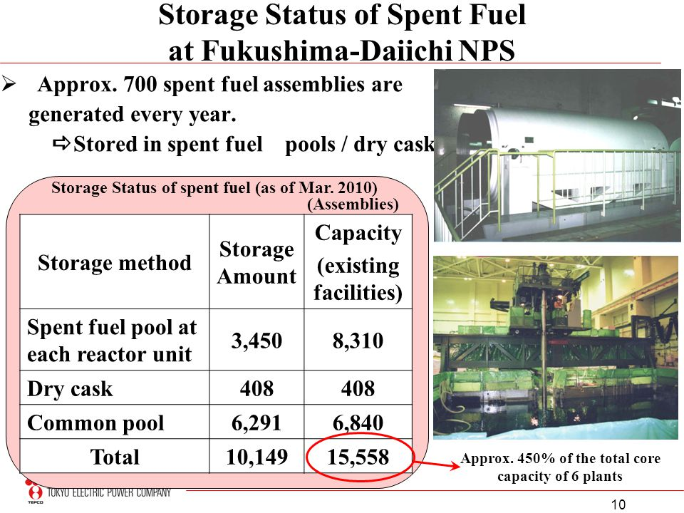 10 Storage Status of Spent Fuel at Fukushima-Daiichi NPS Approx. 700 spent fuel assemblies are generated every year. Stored in spent fuel pools / dry