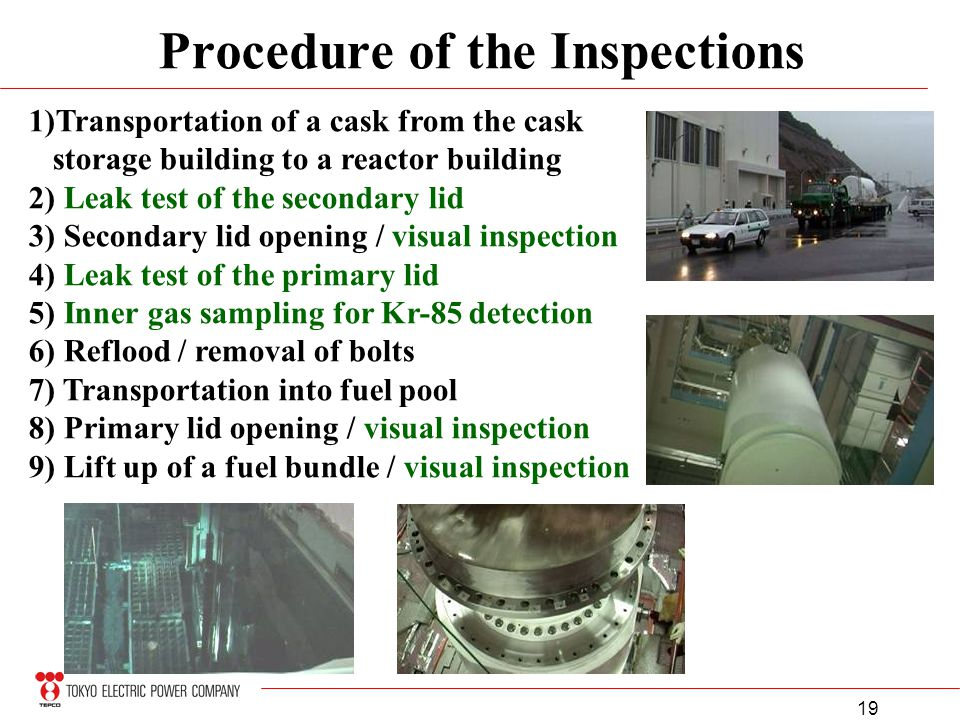19 Procedure of the Inspections 1)Transportation of a cask from the cask storage building to a reactor building 2) Leak test of the secondary lid 3) S
