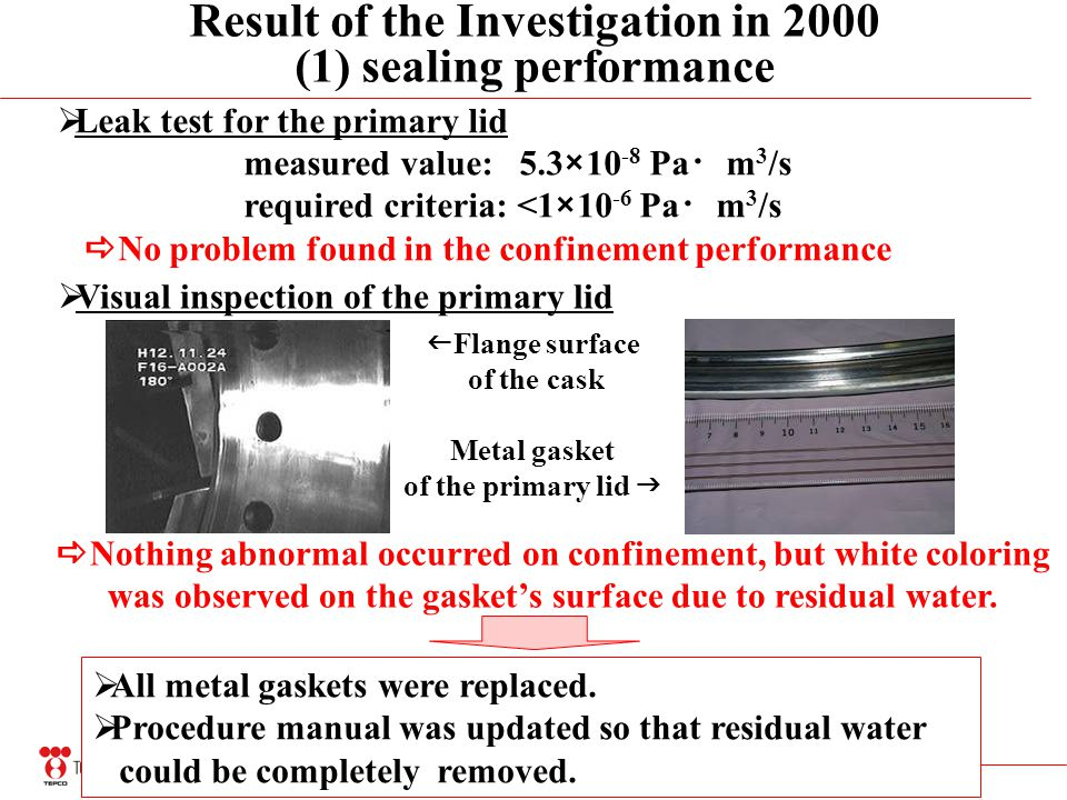 21 Result of the Investigation in 2000 (1) sealing performance Leak test for the primary lid measured value: 5.3×10 -8 Pa m 3 /s required criteria: <1