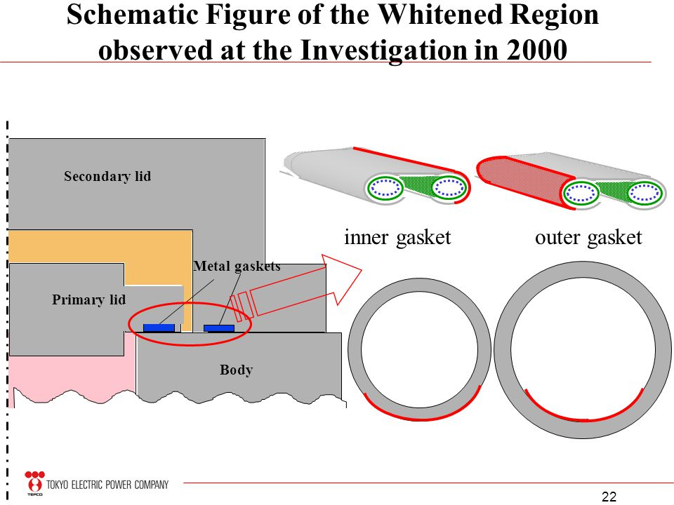 22 Schematic Figure of the Whitened Region observed at the Investigation in 2000 Primary lid Secondary lid Body Metal gaskets inner gasketouter gasket