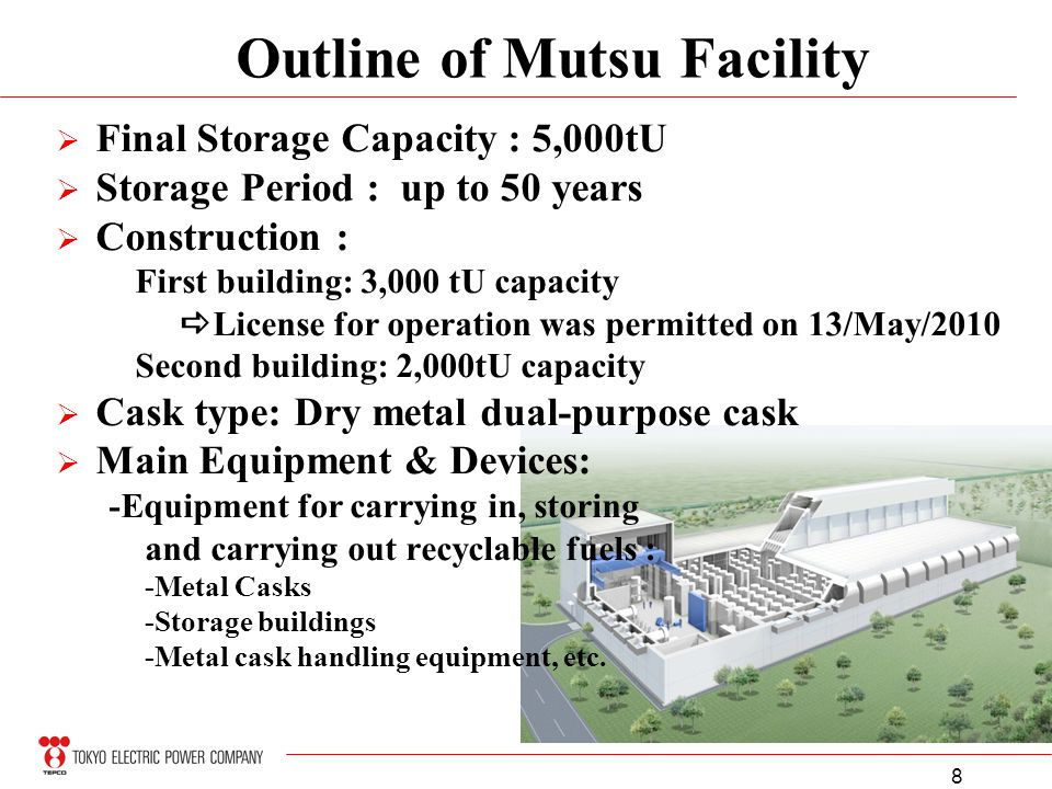 8 Final Storage Capacity : 5,000tU Storage Period : up to 50 years Construction : First building: 3,000 tU capacity License for operation was permitte